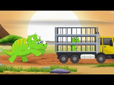 Baby Dino Lost in The Jungle Rescued by SuperCar Rikki | Kids Cartoon Songs