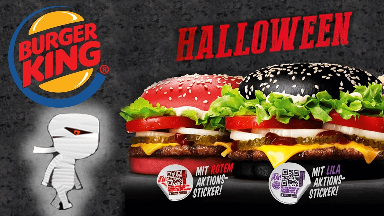Halloween Burger King WHOPPER Black Burger + Red Burger Taste-Test ...