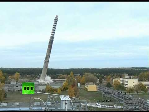 'Controlled catastrophe': Dramatic demolition of 150m chimney in Poland