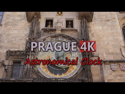 Ultra HD 4K Prague Travel Astronomical Clock Tourist Attractions Tourism UHD Video Stock Footage