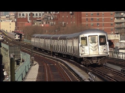 NYC Subway HD 60fps: Morning Rush Hour on The J, M, Z [Jamaica El] @ Lorimer Street & Flushing Ave