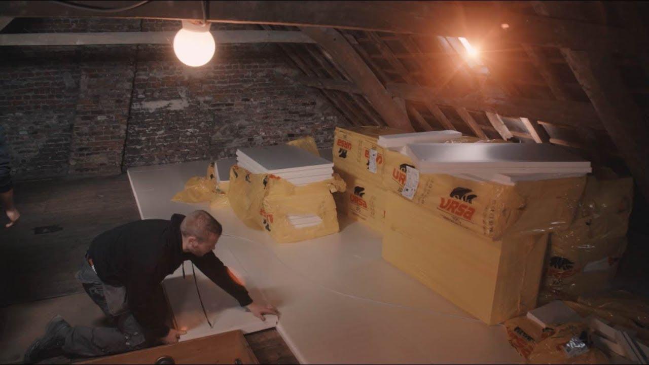 Zoldervloer isoleren: isolatieplaten en OSB-platen - YouTube