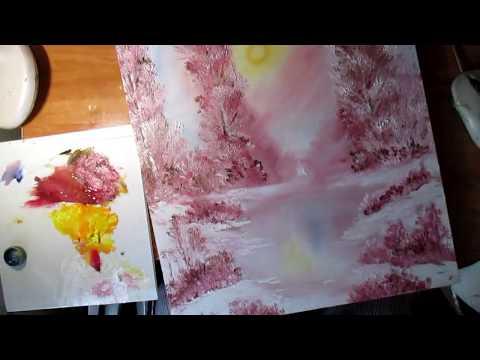 Розовая зима.Мастихин.Научиться рисовать.