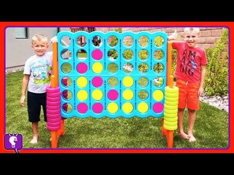 GIANT CONNECT 4! SURPRISE TOYS Game -- Get the X, Get a Prize with HobbyKidsTV
