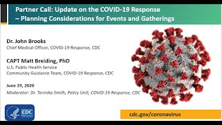 CDC COVID-19 Partner Update: Planning Considerations for Events and Gatherings -  June 29, 2020