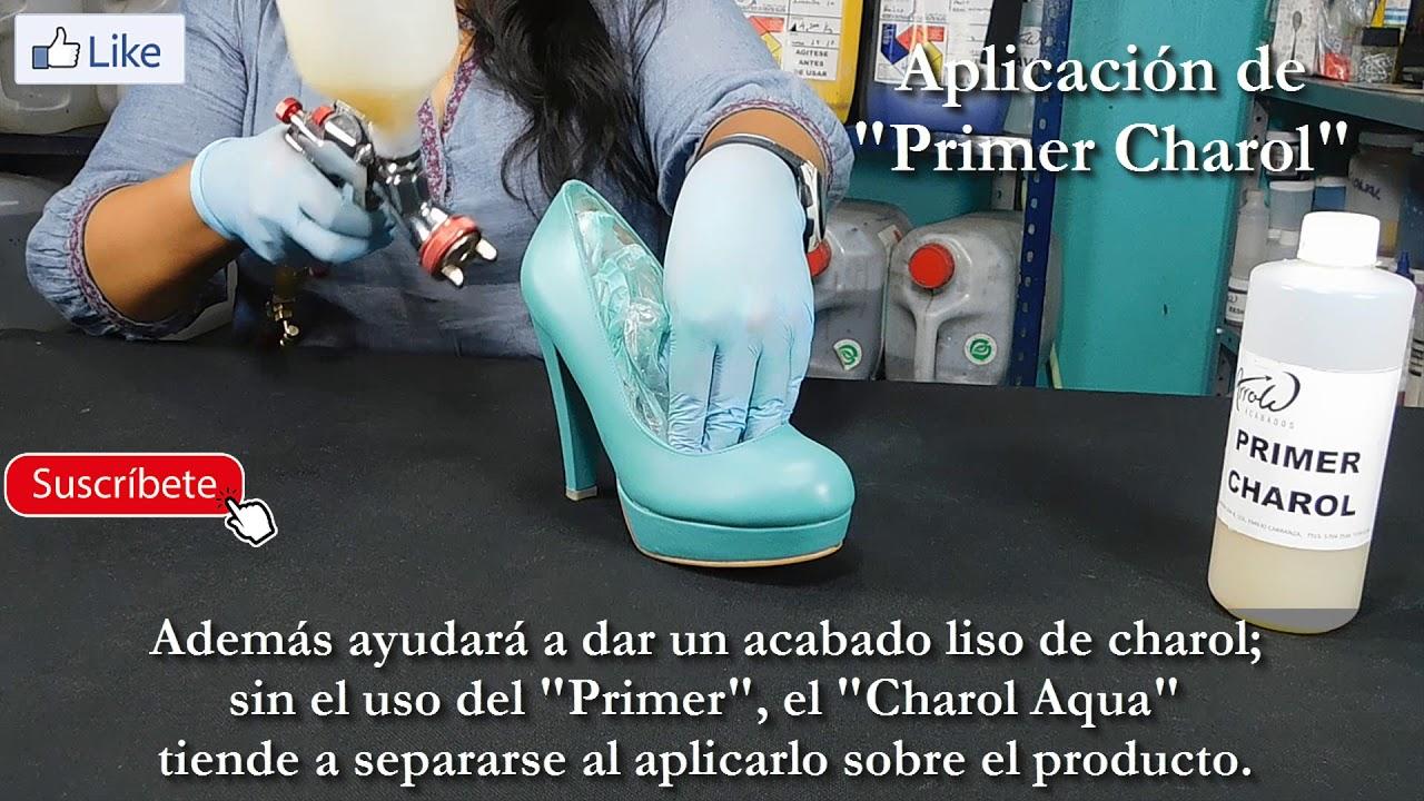 0e9fdfd3 Repintado de zapatos de charol sintético con CHAROL AQUA - YouTube