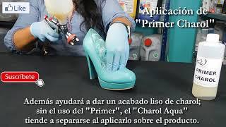 Repintado de zapatos de charol sintetico con CHAROL AQUA