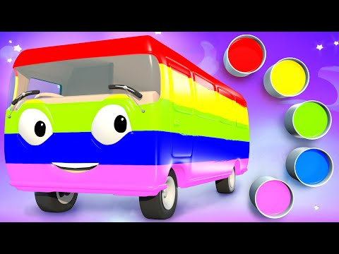 Learn Colors with Bus Paint | Finger Family Song for Kids | Best of Panda Bo