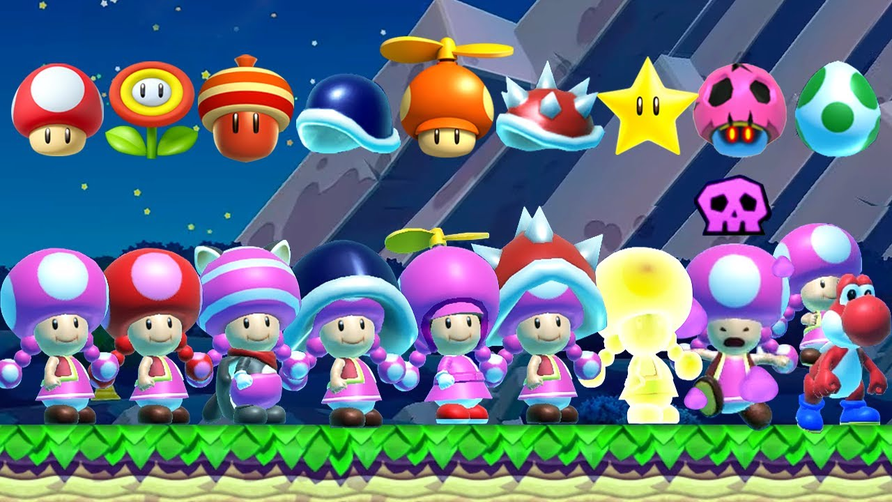 Super Mario Maker 2 - All Toadette Power-Ups in Night Mode