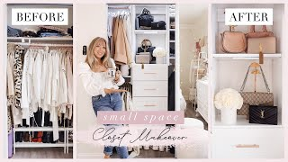 DIY EXTREME CLOSET MAKEOVER & ORGANIZATION HACKS   Before & After   Small Space + Renters Friendly ✨