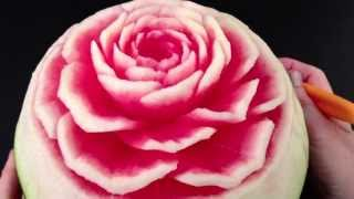 Beautiful Rose Flower Watermelon - Advanced Lesson 9 By Mutita Art Of Fruit Vegetable Carving