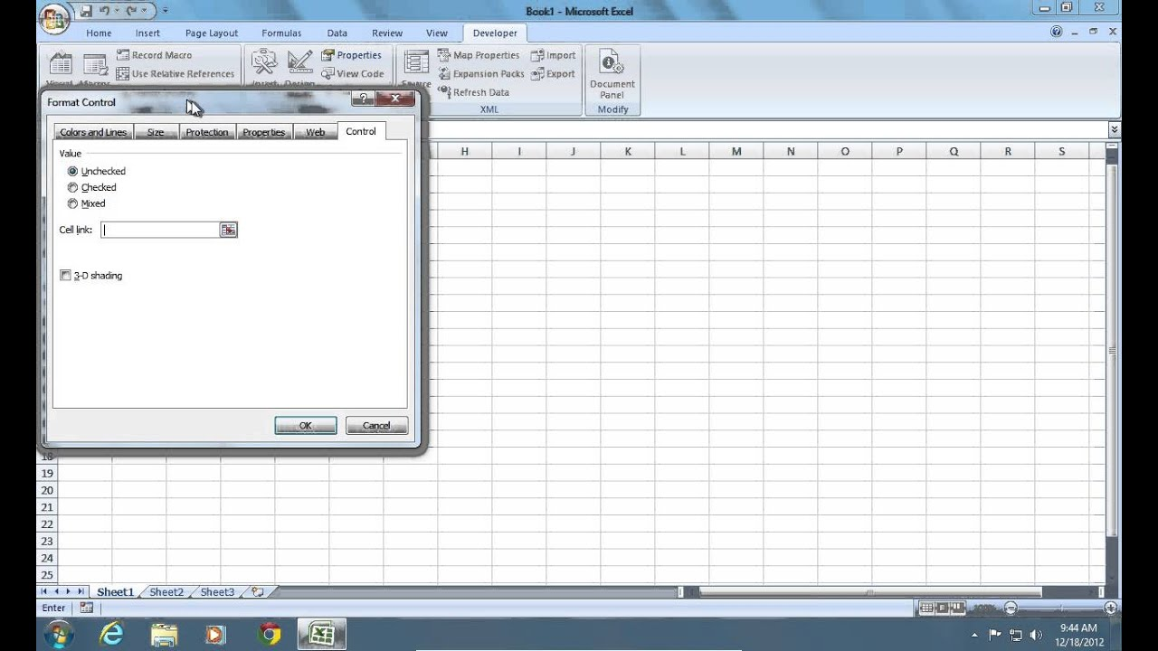 How To Make Excel 2007 Cell Checkbox Youtube