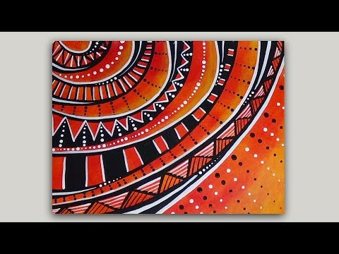 Abstract Acrylic Painting Sun Doodle and Dot Art