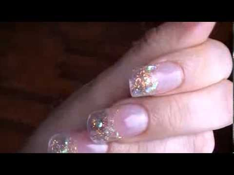 Clear Nails With Flakes And Glitter