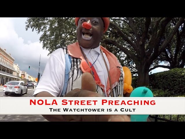 Angry clown defends JW Cult, comes against preacher!
