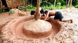 Primitive Technology  Find Turtle The Forest And Build Swimming Pool For Turtle with Survival Skills