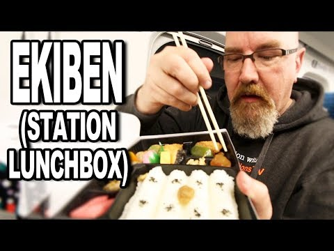 Japan Lunch Boxes (Ekiben 駅弁) on a Bullet Train from Tokyo to Hiroshima