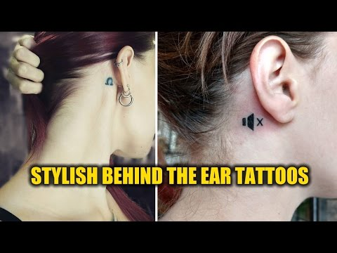 Small Stylish Behind the Ear Tattoo Designs