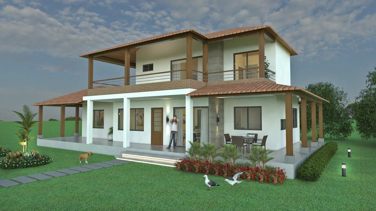 Planos de casa campestre moderna en dos pisos arquitecto for Casas campestres rusticas