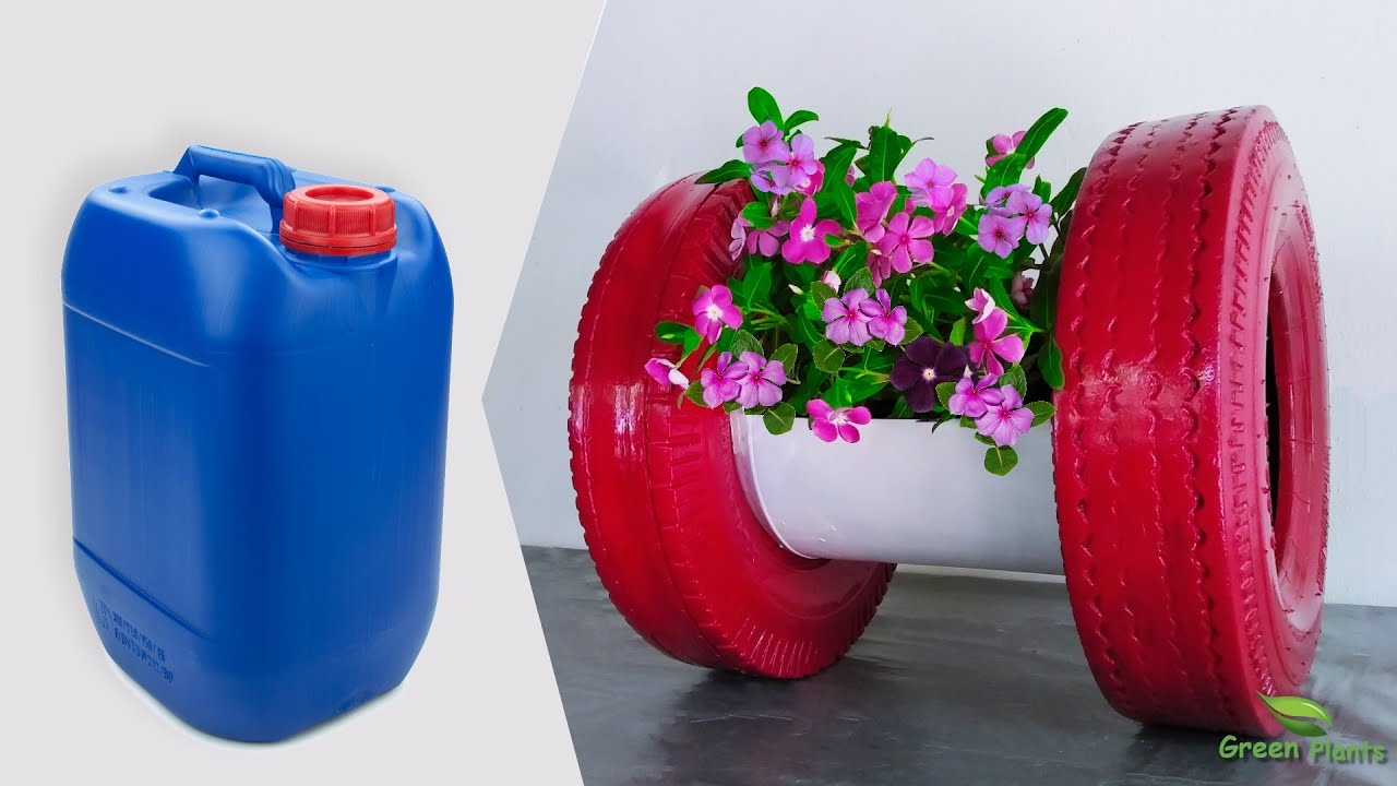 Low Cost Flower Pot Idea | How to Turn Plastic Barrel & Tires into Stunning Flower Pot//GREEN PLANTS