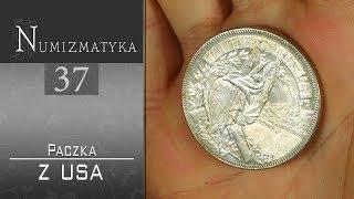 Banknoty i srebrne monety w paczce z USA - Numizmatyka