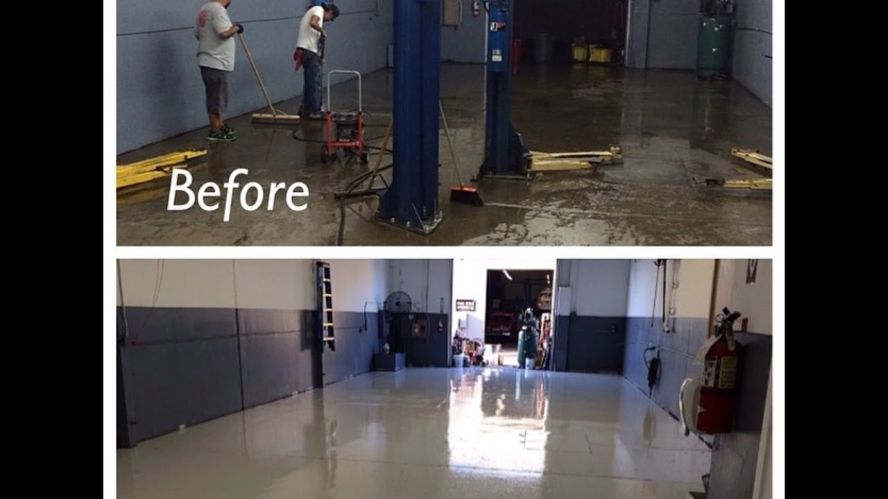 How i painted my auto shop floors paint i used youtube for Mechanic shop flooring