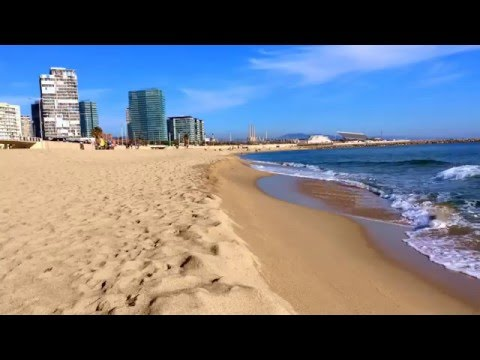 Barcelona beach: 1 hour sound of the sea - relaxing, chill out video for meditation in full HD