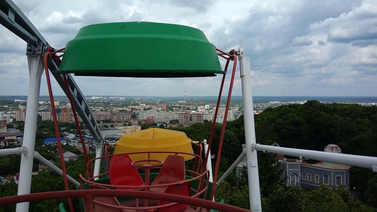 панорама города с колеса обозрения в парке Белинского