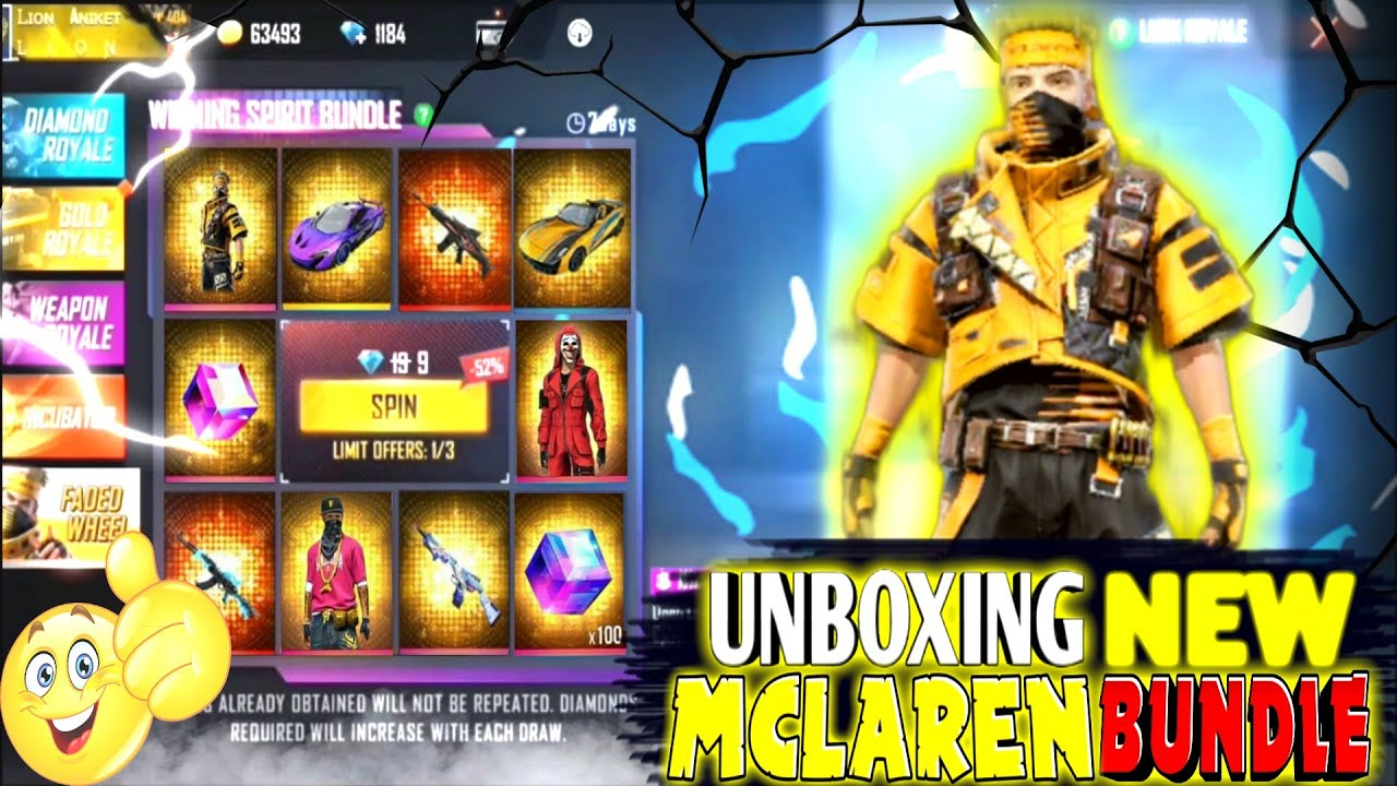 UNBOXING NEW MCLAREN FADED WHEEL BUNDLE IN ONLY 9 DIAMONDS😱👽-para SAMSUNG S6,S7,A20 GARENA FREE FIRE