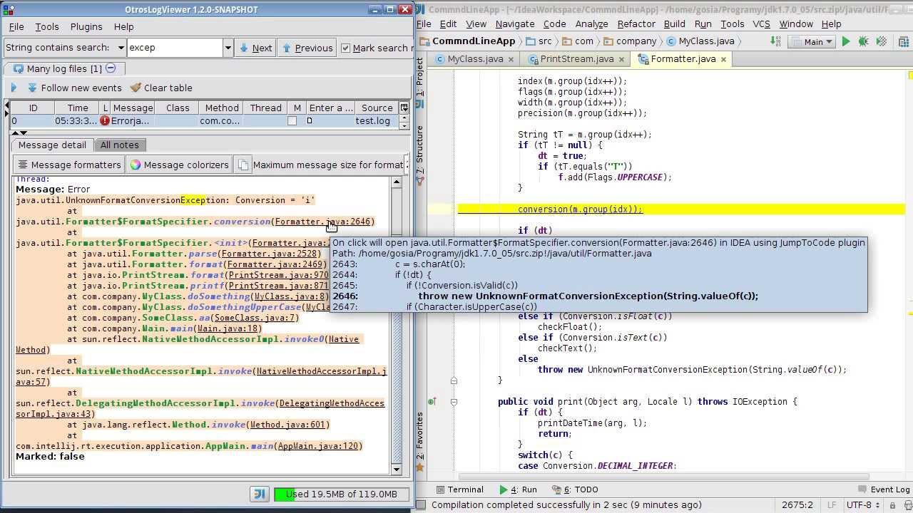 OtrosLogViewer integration with Intellij IDEA - teaser