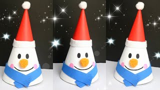 DIY Snowman For Christmas Decorations|Making Paper Cone Snowman For Kids Craft| #snowman #papercraft