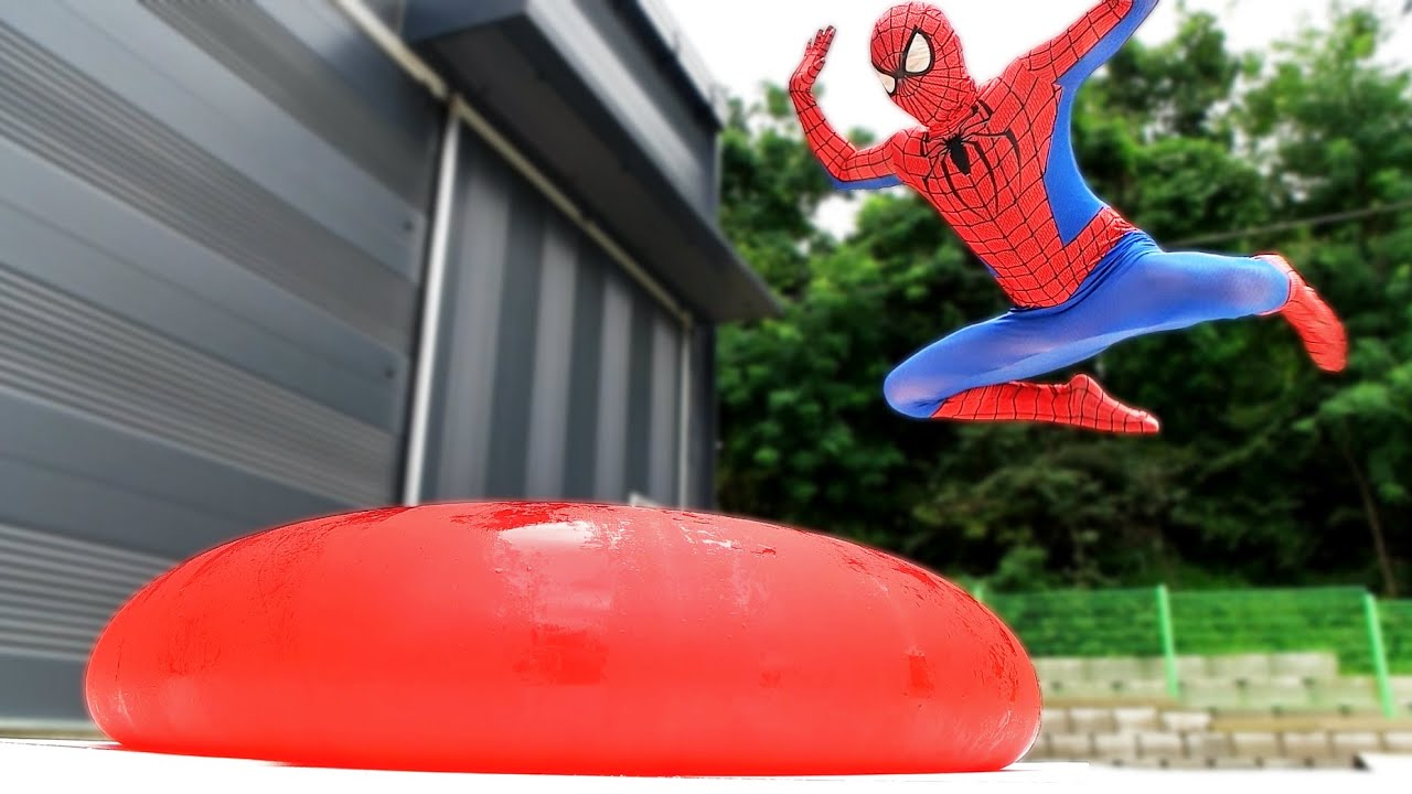 Spider Man Popping Giant Water Balloons! #2