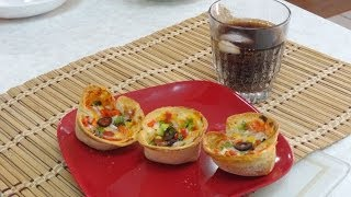 Bread Pizza Cups Video Recipe By Bhavna - Perfect Super Bowl Party Recipe