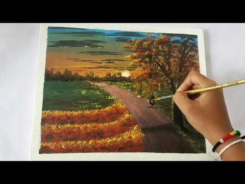 How To Easy Painting A Sunset Landscape | Step By Step With Acrylic Colors For Beginners