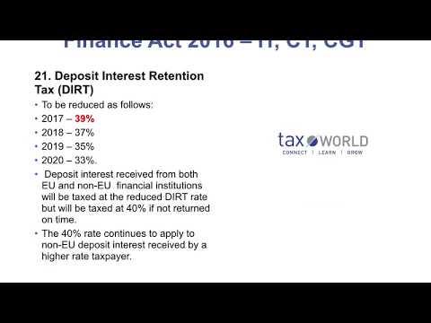 Finance Act 2016 Section 21 - Deposit Interest Retention Tax (DIRT)