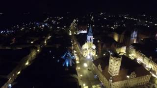 Toruń nocą z drona