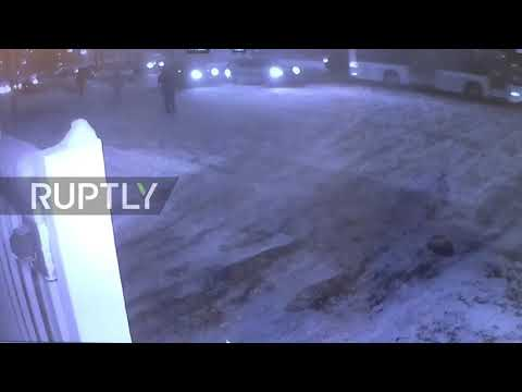 Russia: CCTV captures moment car crashes into airport checkpoint in Moscow