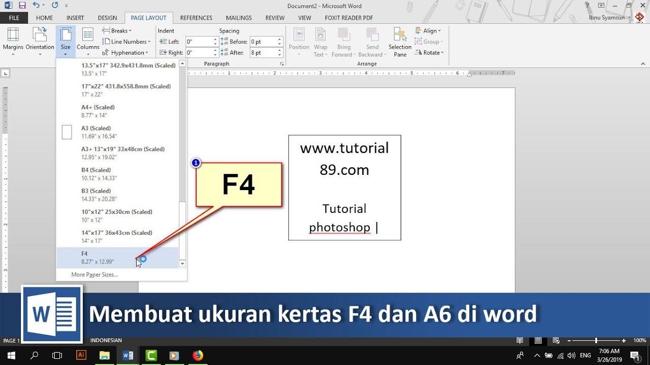 Cara Menambahkan Ukuran Kertas F4 Dan A6 Di Word Tutorial89 Youtube