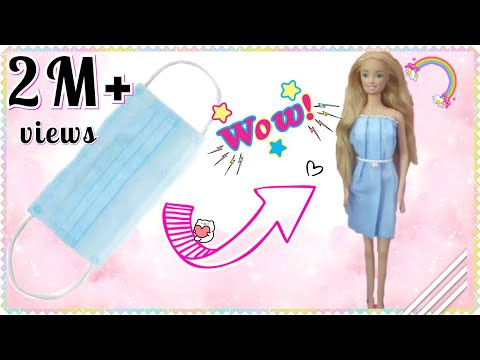 DIY doll dress with mask part1| no sew  | Minni_Mo crafts
