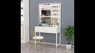 철제 공주 사각 조명 거울 나비 의자 드레스룸 화장대