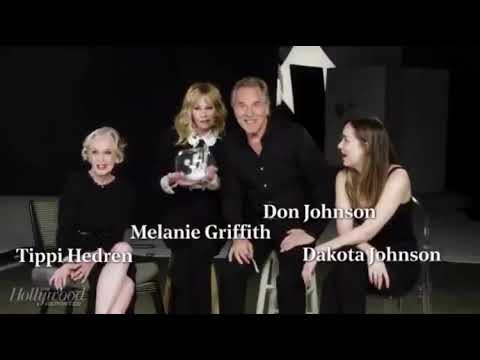 Dakota Johnson, Don, Melanie & Tippi playing 'Fishing for Answers' with the Hollywood Reporter.