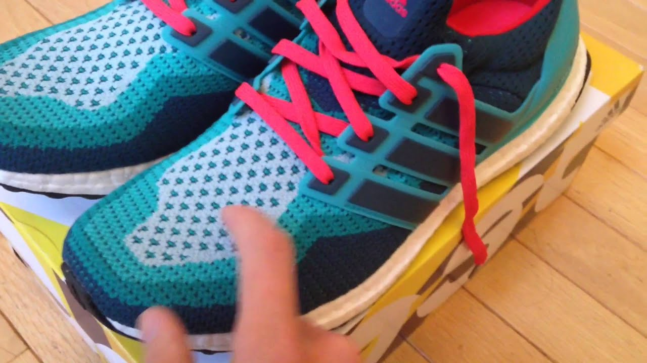 quality design d30e2 91c9d adidas Ultra Boost Running Shoes FIRST IMPRESSIONS (Clear Green Mineral Shock  Red)