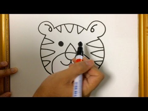 Simple lesson how to draw animal tiger face using marker pen