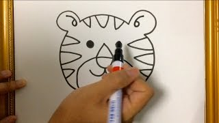 SIMPLE LESSON HOW TO DRAW ANIMAL : TIGER FACE USING MARKER PEN