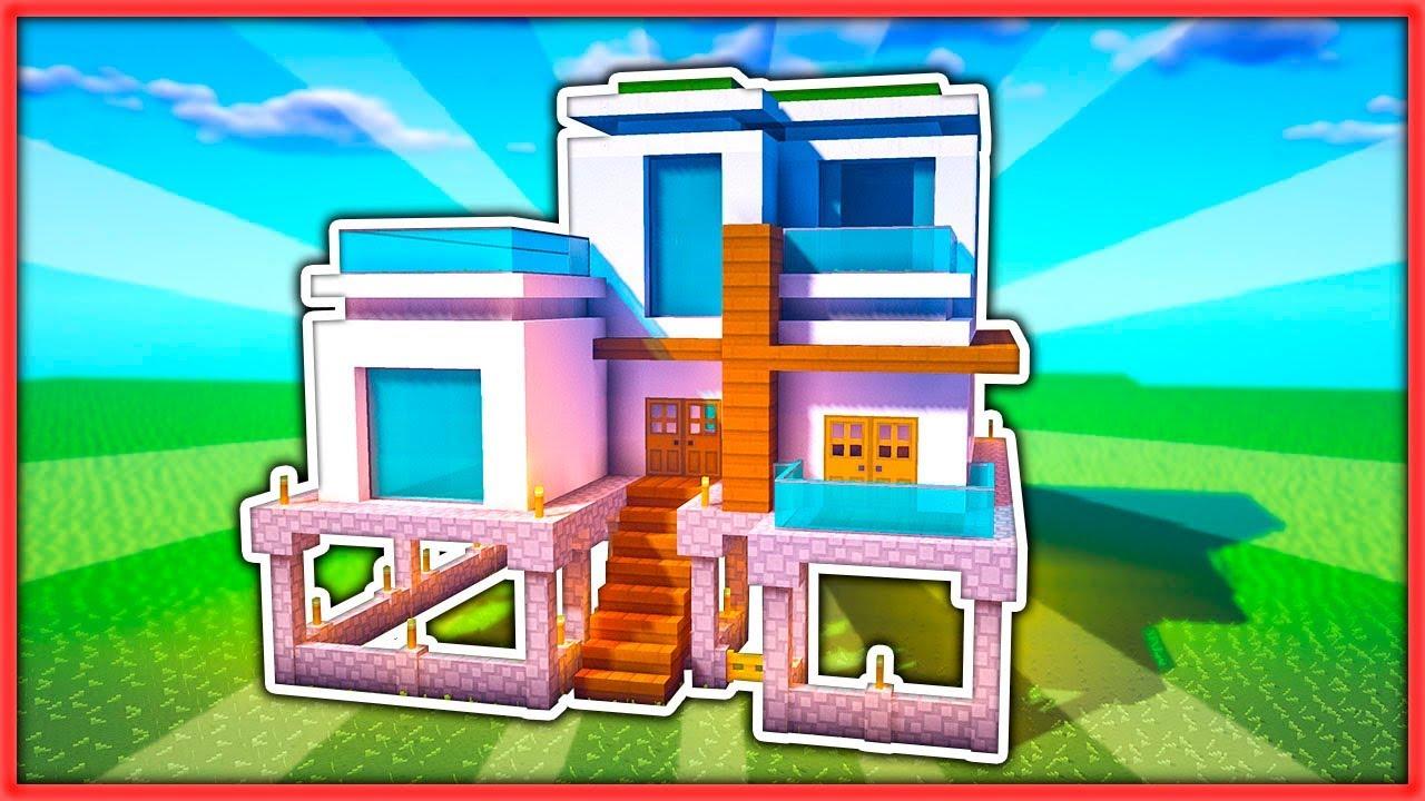 C mo hacer una casa moderna survival en un chunk for Casa moderna survival minecraft