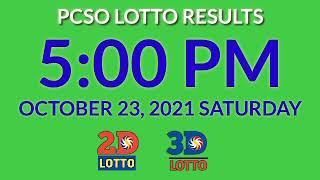 5pm Pcso Lotto Results Today October 23, 2021 Saturday