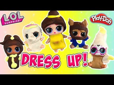 LOL Surprise Dolls Lil Sisters Dress Up Contest! W Daring Diva and Play-Doh! | LOL Dolls Families