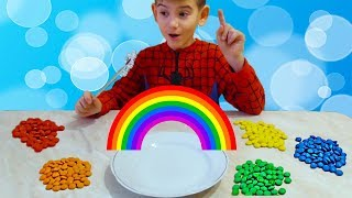 learn colors of the rainbow made of candy