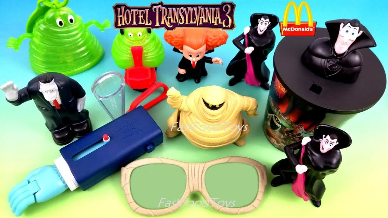 2018 McDONALDS HOTEL TRANSYLVANIA 3 HAPPY MEAL TOYS HT 2 US EUROPE ASIA UNBOXING KID SUMMER VACATION