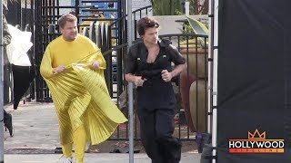 Harry Styles and James Corden Put on a Spectacle in the Middle of the Road!